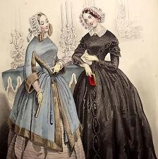 LE FOLLET 1845 Hand-Colored Fashion Plate #1219 Toilettes de Soiree ORIG.PRINT