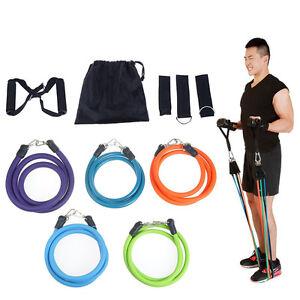 11PC-Heavy-Duty-RESISTANCE-BAND-TUBE-Power-Gym-Exercise-Yoga-Training-Fitness