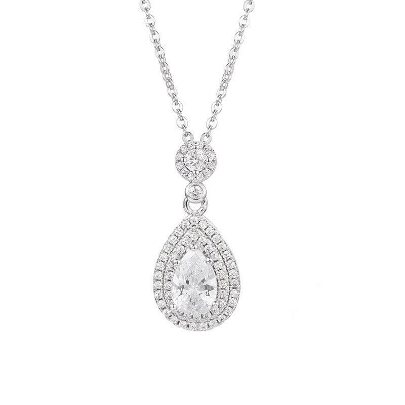 5c5caf1f8b6b4 2ct Finish gold White 14k Halo Double Chain Pendant Diamond VVS1D ...