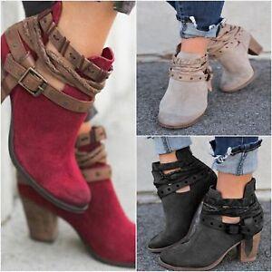 Women-Ladies-Ankle-Martin-Boots-Block-High-Heel-Metal-Buckle-Belt-Round-Toe-Shoe