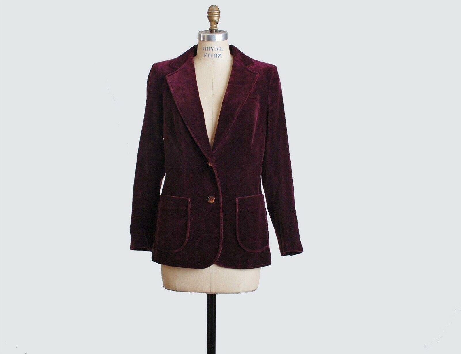 VTG 70s Burgundy Red Velvet Blazer Jacket Velvet … - image 2