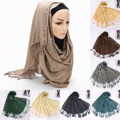 Women Islamic Maxi Hijab Scarf Shawl Muslim Long Stole Wrap Scarves Rhinestone