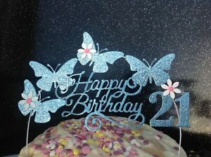 Superb Blue Butterfly Birthday Cake Topper Handcrafted Cake Decoration Ebay Personalised Birthday Cards Petedlily Jamesorg