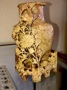 VINTAGE-Hand-Carved-Chinese-Soapstone-Shoushan-Styled-Floral-Vase-Urn-Sculpture