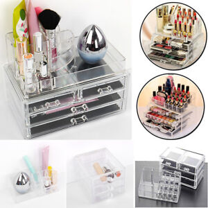 Image is loading New-Acrylic-Cosmetic-Organizer-Makeup-Case-Holder-Drawers-