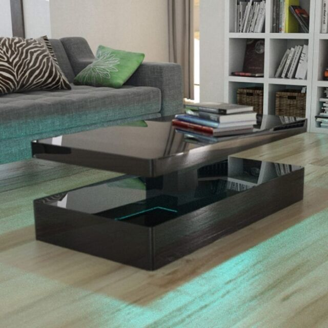 Tiffany Black High Gloss Coffee Table With Led Lighting