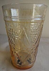 Vintage-Carnival-Glass-Tumblers-Diamond-and-Grapes-Jain-Glass-India-Rare-65-F