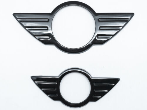 Frente Y Parte Trasera Insignia Emblema Negro Brillante Cubierta Para Mini Cooper R50 R52 R53 R58 R59