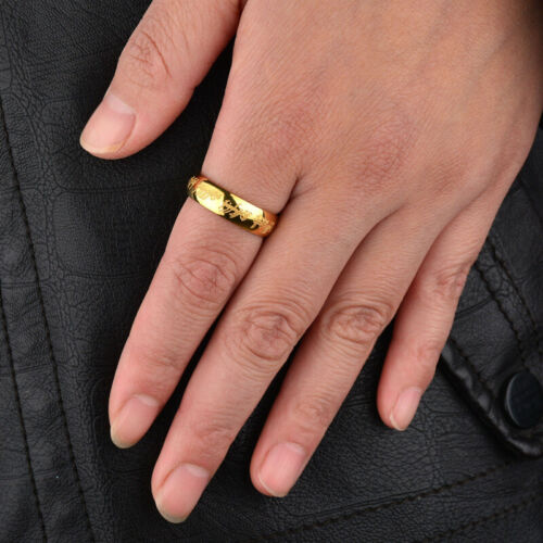6mm Lord of the Ring Silver//Gold//Black Titanium Steel Wedding Party Band Sz 6-13
