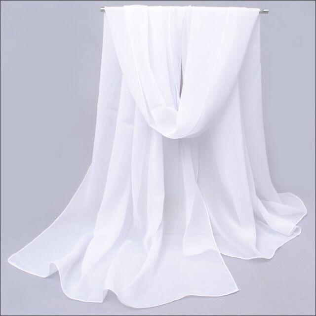 Fashion Women's Solid White Color Long Soft Chiffon Scarf Wrap Shawl New