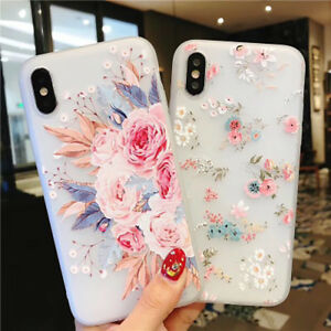 Shockproof-Silicone-Flower-Phone-Case-Cover-For-iPhone-6S-7-8-Plus-XS-XR-Women