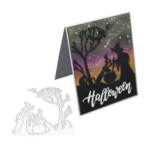 Stanzschablone-Hexe-Zauberin-Baum-Weihnachts-Geburtstag-Hochzeit-Karte-Album-DIY