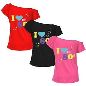 Details about Womens Plus Size I Love The 80s Pop Star Retro Print Top  Night Party T Shirt