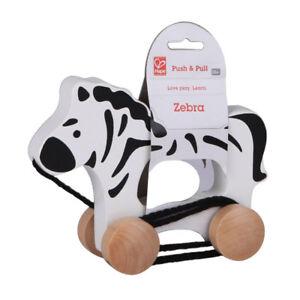 # Hape E0909 Nachziehtier Zebra Rolltier Schiebetier Holz NEU Holzspielzeug