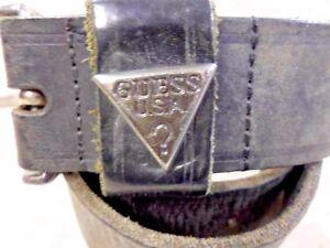 Uomini-Guess-VNTG-Leather-Belt-Nero-Taglia-M-29-034-Grado-B-LB216