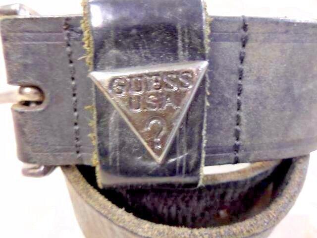 Uomini GUESS VNTG Leather Belt Nero Taglia M 29