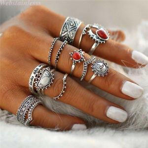 14-Stk-Ringe-Set-Damen-Boho-Retro-Fingerspitzen-Knuckle-Stapelring-Fingerring