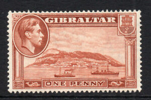 Gibraltar-1-Penny-Stamp-c1938-51-Perf-14-Mounted-Mint-Hinged-3016
