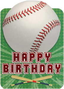 Details About Baseball On Green Die Cut Foil Sports Paper House Birthday Card For Kids