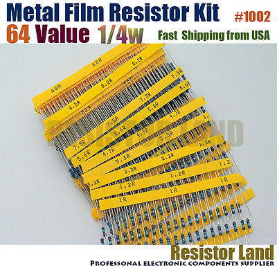 1280pcs 64 Value 20pcs Each 1% 1/4W Metal Film Resistor Assortment Kit