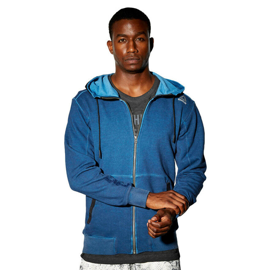 Herren Reebok Noble Fight Washed Full Zip Hoody French Terry Hooded Sweatshirt