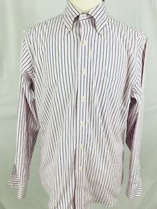 Brooks-Brothers-Mens-Shirt-Size-Large-Long-Sleeve-Button-Front-Pink-Blue-S