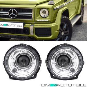 Mercedes-G-Klasse-W463-Klarglas-Scheinwerfer-DE-Linse-Chrom-89-08-Facelift-Optik