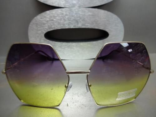 OVERSIZE VINTAGE HEXAGON RETRO Style SUN GLASSES Gold Frame Purple /& Yellow Lens