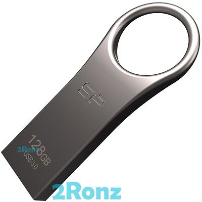 Silicon Power Jewel J80 128GB USB 3.0 Flash Drive Disk Metal Keyring Titanium