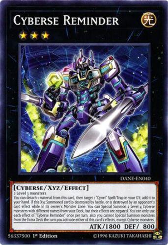 3x Yugioh DANE-EN040 Cyberse Reminder 1st Ed Common NM