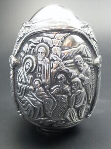Grecia-Gran-Ei-950-Plata-Con-Cristiana-Motivos-343-Gramos