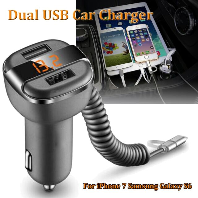 5V 3.4A Dual USB 2 Port Car Charger LED Display For iPad iPhone 7 Samsung S7 S6