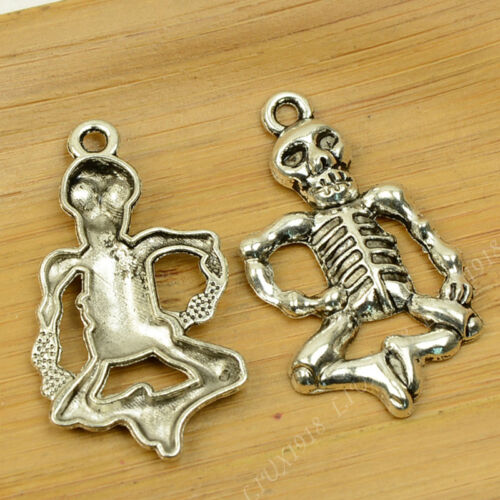 5pc Tibetan Silver Charms Pendant Beads Skeleton Pendants Accessories P681B