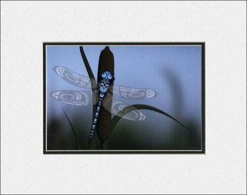 Spring/'s Finale by Andy Everson matted art print  Comox native Dragonfly spirit