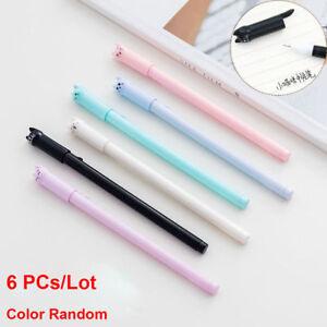 6-x-Cute-Cat-Gel-Pen-Black-Ink-Pen-Kawaii-Stationery-School-Office-Supplies