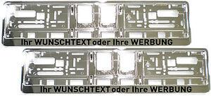 2-Stueck-Kennzeichenhalter-CHROM-mit-WUNSCHTEXT-Nummernschildhalter-Satz-silber