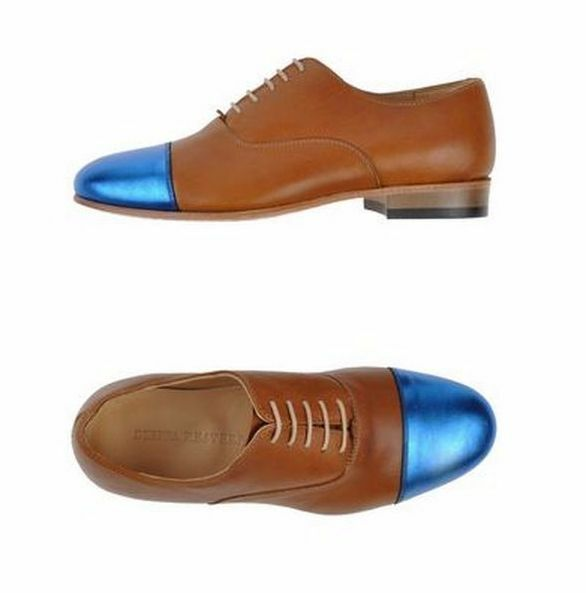 NWB DIEPPA RESTREPO Laced Laced Laced Oxfords Brown Leather w  bluee Metallic Tip Sz 6.5 464d12
