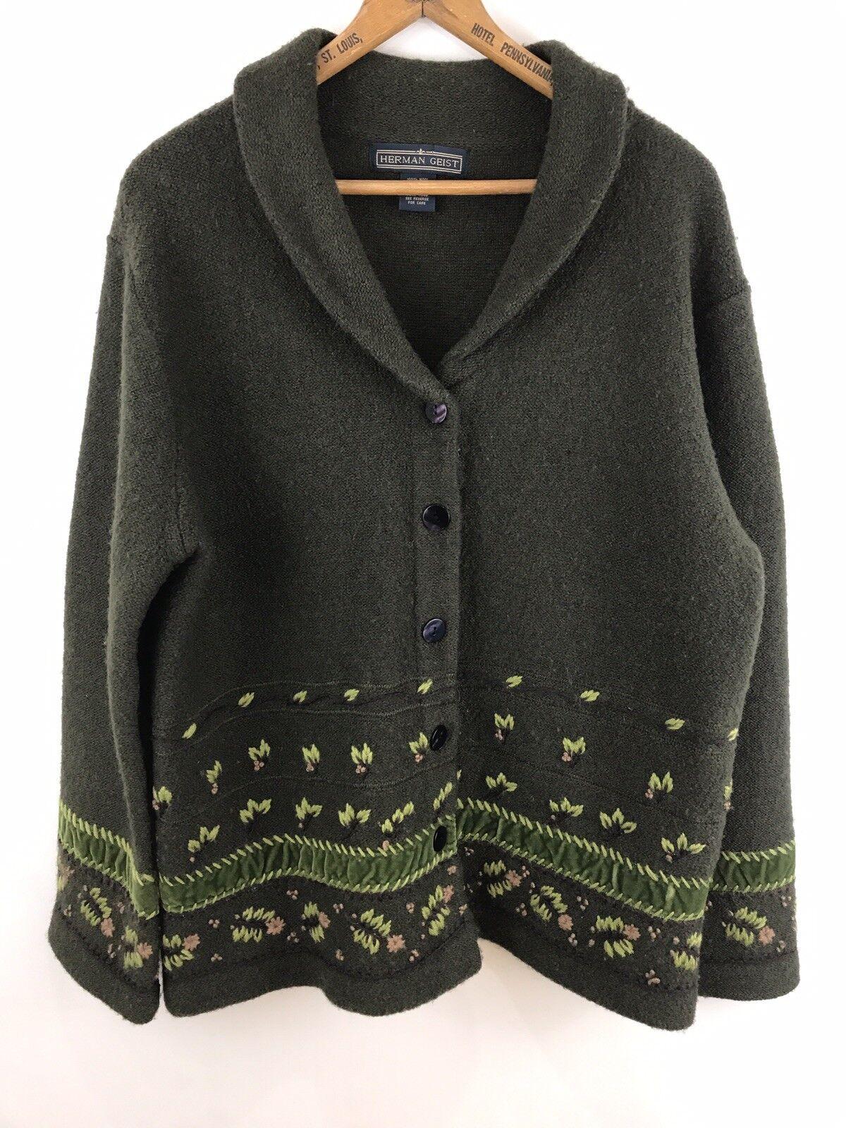 Herman Geist Women's Small Cardigan Sweater 100% Wool Forest Green Embellished