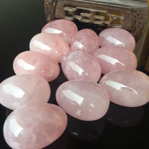 Natural Pink Rose Quartz Egg Ball Magic Crystal Healing Ball Sphere Gemstone