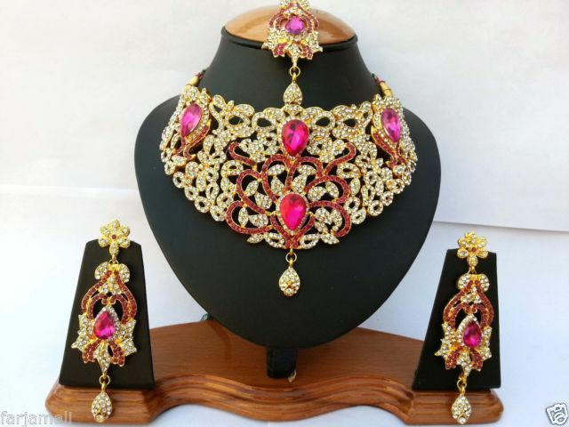 INDIAN JEWELLERY SET DELICATE STYLE GOLD PLATED CERISE CLEAR STONE NEW AQ/186