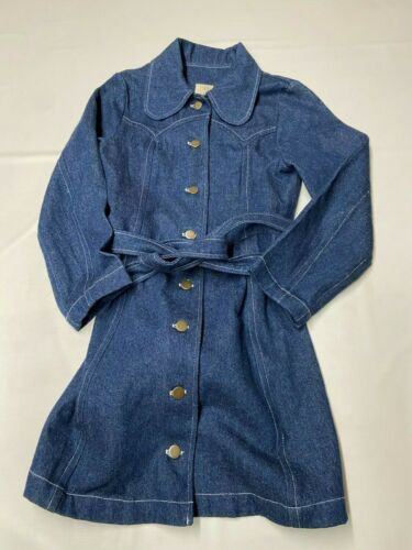 Womens LYKKE WULLF Blue Long Trench Button Up Deni