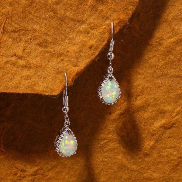 5a4a0de2b Vintage Silver Plated White Fire Opal Wedding Dangle Drop Hoop Earrings  Women