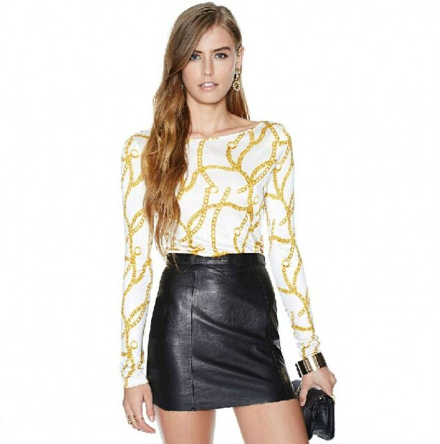 Gold Necklace Chain Print Stretch Basic Classic Club Party T Shirt Top Blouse C