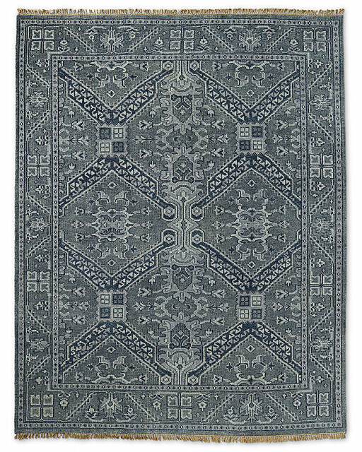 Restoration Hardware Stratto Grey Hand Knotted Rug 8x10 Wool Rug 3995 Msrp