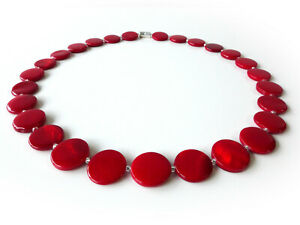 Halskette Kette Muschel Perlmutt  Scheibe Ø15mm kräftiges rot dunkelrot  405l
