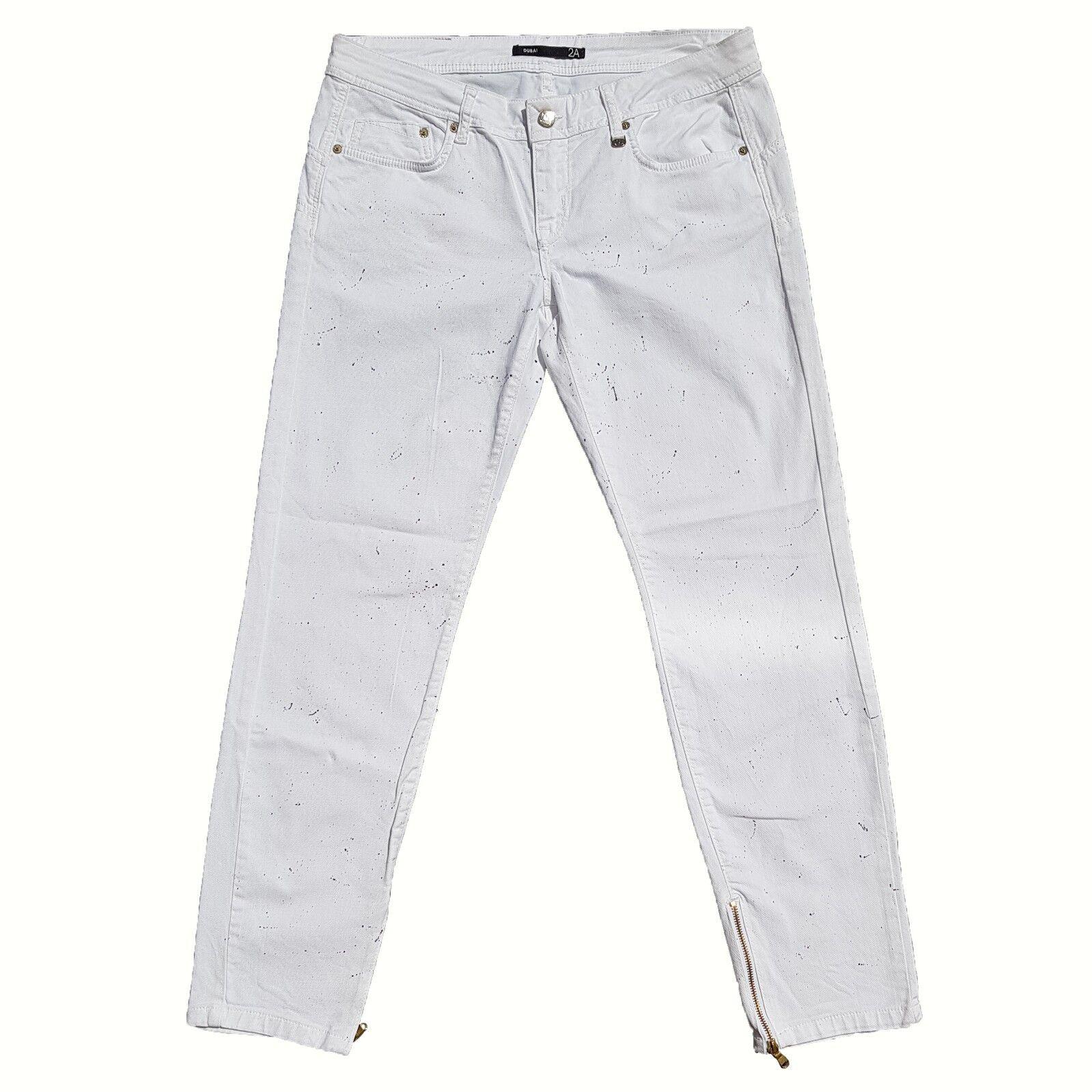 New Iceberg Dubai 2A  Ladies Jeans Paint Splattered Size 33 White