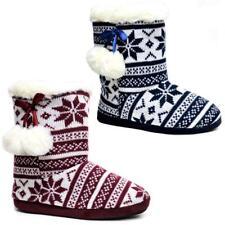 Kumfipumps Ladies comfy knitted warm fleece pom pom slip on slippers s sm,med,lg
