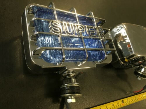 "8 /""x 5/"" super rectagular Chrome Spot Lumières spotlights 12V Xenon Look Bleu Lentille"