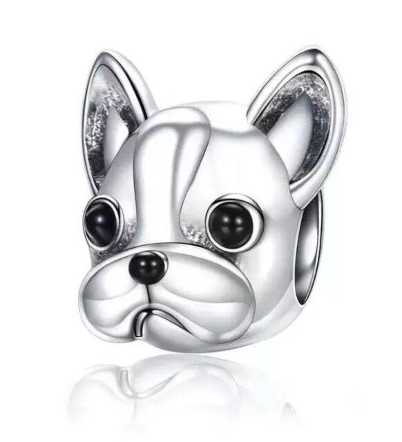 Antique Silver Colour Cute PUG DOG Pet Charm Fawn /& Black Glass Bead Bracelet