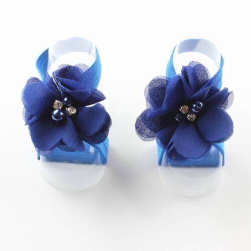 Baby Girls Rhinestone Wrist Flower Foot Band Barefoot Sandals Shoes Photo Prop